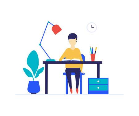 Studentenstudium - bunte Illustration der flachen Designart. Hochwertige Komposition mit einem Jungen, der am Schreibtisch sitzt, ein Buch liest, Hausaufgaben macht, eine Lektion lernt. Bildung, Schulkonzept