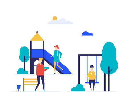 City playground - flat design style colorful illustration on white background. High quality unusual composition with a slide, swing, bench, boys and girls, teenagers with gadgets, smartphones