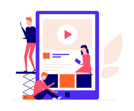 Children studying online - flat design style colorful illustration. High quality composition with students, boys and a girl watching video tutorial on their smartphones, gadgets. Education concept