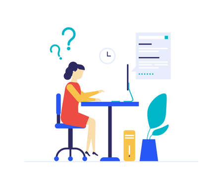 Girl studying online - flat design style colorful illustration on white background. A composition with a student sitting at the computer, doing homework, having questions on the lesson. Education theme