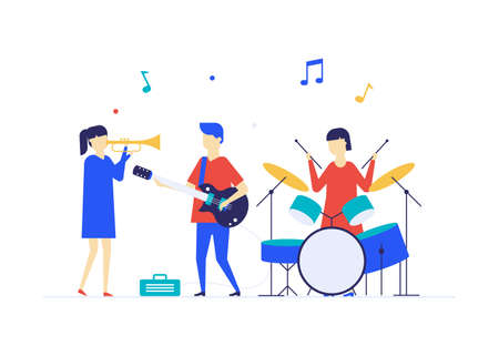 Children playing music - flat design style illustration on white background. High quality composition with students, boys and girls performing with musical instruments, saxophone, guitar, drums