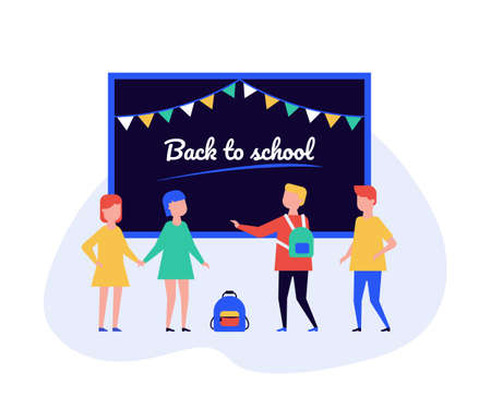Back to school - flat design style illustration on white background. High quality composition with students, children standing at the blackboard in the classroom. Education, new academic year concept