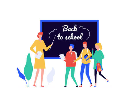 Back to school - flat design style illustration on white background. A composition with a teacher with a pointer, students, children standing at the blackboard in the classroom. Education concept 向量圖像