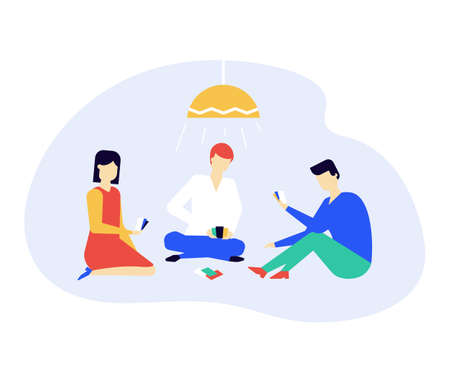 Children playing a card game - flat design style illustration on white background. High quality composition with teenagers, boys and girls sitting on the floor, having fun. Leisure and hobby concept