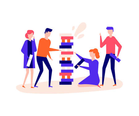 Children playing a game - flat design style illustration on white background. Quality composition with cheerful boys and girls building a tower, placing wooden blocks, having fun. Leisure concept