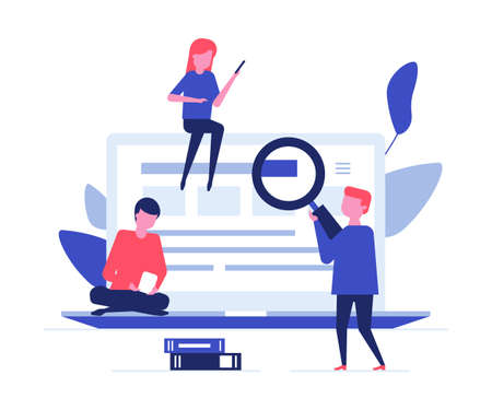 Children studying online - flat design style colorful illustration. A composition with students, boys, girls at a big laptop, reading, searching for the information. Computer science, education concept
