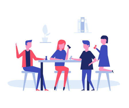 Children playing a board game - flat design style illustration on white background. High quality composition with students, boys and girls sitting at the table, having fun. Leisure concept