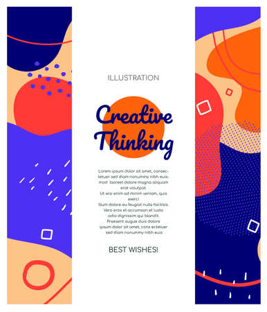 Creative thinking - modern vector abstract web banner with place for your text, information, title. High quality poster template with textures, lines and blurs, blue, pink, purple background