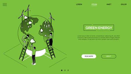 Green energy - line design style isometric web banner Çizim