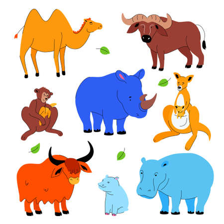 Cute exotic animals - set of flat design style characters Ilustracja
