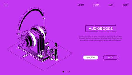 Audiobooks - line design style isometric web banner