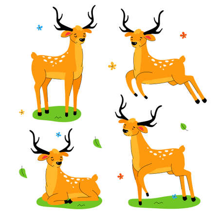 Cute deer - flat design style set of cartoon characters