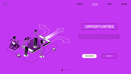 Decision making - line design style isometric web banner on purple background, copy space for text. A website header with colleagues, business team on crossroads, trying to choose the best solution