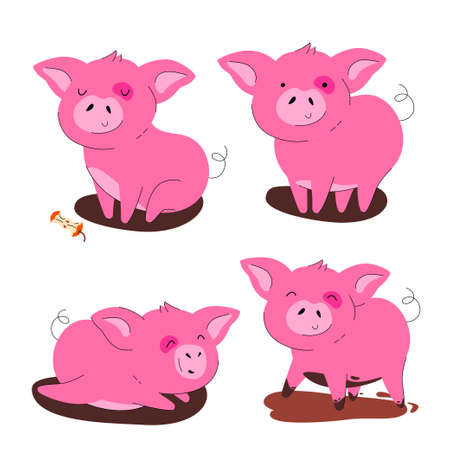 Cute pig - flat design style set of cartoon characters