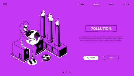 Pollution - line design style isometric web banner
