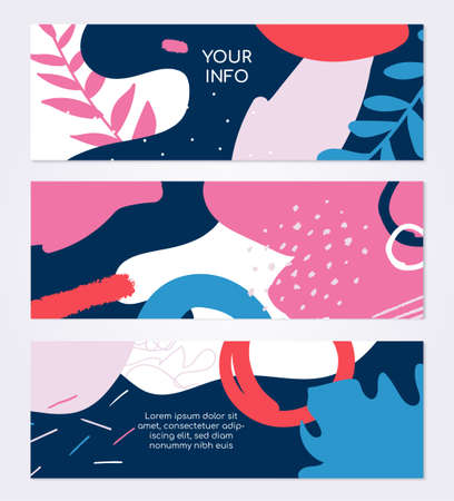 Colorful templates - set of modern abstract horizontal banners Ilustração