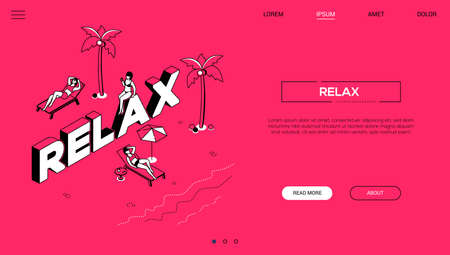 Relaxation concept - line design style isometric web banner