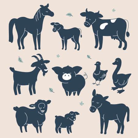 Cute farm animals silhouettes - flat design style set of characters Foto de archivo - 131696371