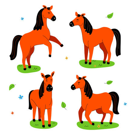 Cute horse - flat design style set of characters