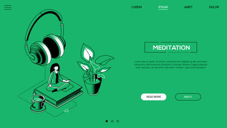 Meditation - line design style isometric web banner on green background with copy space for text. A header with a woman sitting in lotus position on a book, earphones, a cup of tea. Relaxation concept 向量圖像