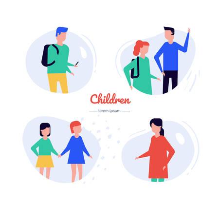 Children - flat design style vector characters set Çizim