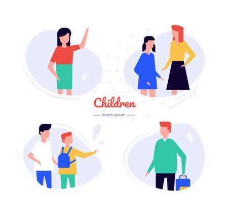 Children - flat design style vector characters set  イラスト・ベクター素材