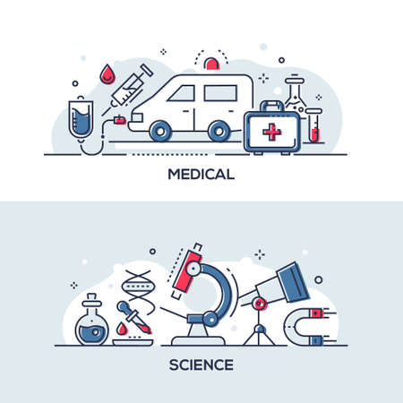 Medical and science - modern line design style illustrations