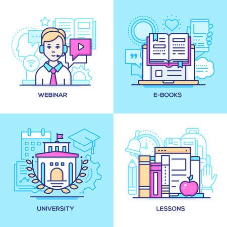 Online education - set of line design style colorful illustrations