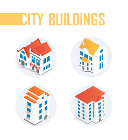 City buildings - modern vector colorful isometric elements