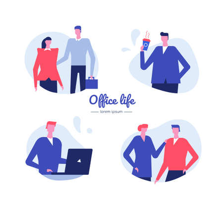 Office life - flat design style vector characters set