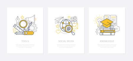 Designers tools - line design style icons set