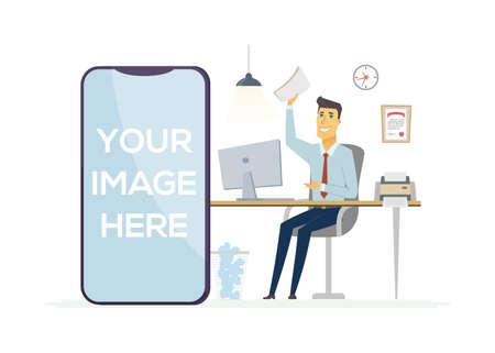 Happy office worker - colorful modern vector illustration Illustration