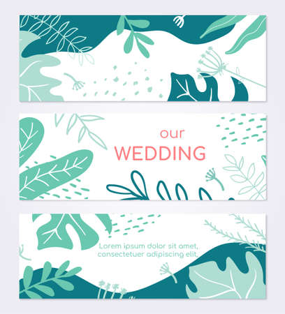 Beautiful wedding invitation card - set of modern abstract horizontal banners 向量圖像