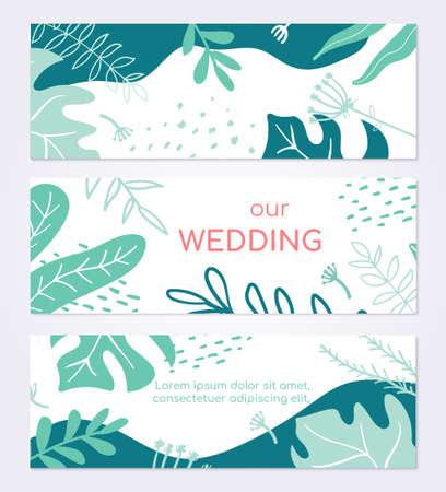 Beautiful wedding invitation card - set of modern abstract horizontal banners 版權商用圖片 - 131695900
