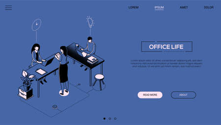 Office life - line design style isometric web banner Иллюстрация