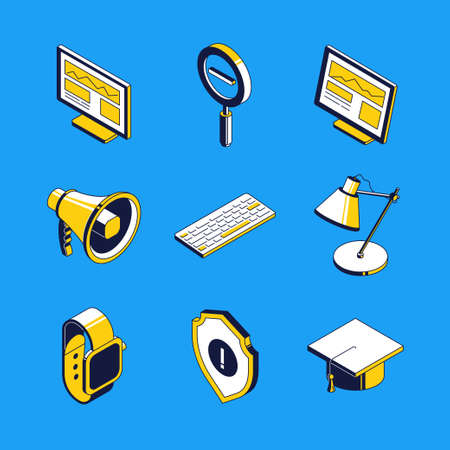 Business and education - vector isometric icons set Ilustração