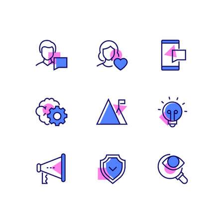 Business and social media - line design style icons set Фото со стока - 132098074
