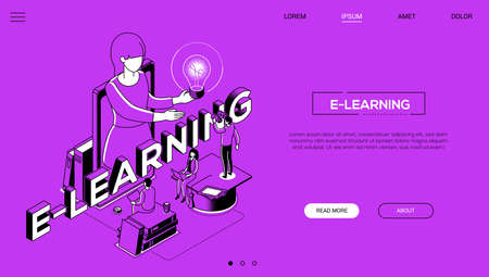 Distance education landing page modern vector template