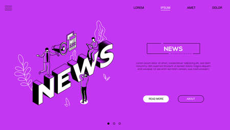 News landing page colorful isometric web banner