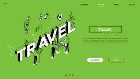 Traveling time colorful vector landing page template Stock Illustratie