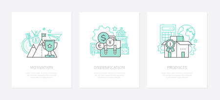 Motivation, goal setting - line design style icons set. Diversification, economic strategy, financial balance idea banners. Product certification in global market vector isolated outline images