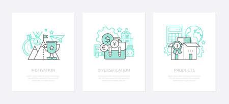 Motivazione, definizione degli obiettivi - set di icone di stile di design della linea. Diversificazione, strategia economica, banner idea equilibrio finanziario. Certificazione del prodotto nelle immagini di contorno isolate vettore mercato globale