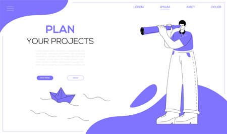 Plan your projects - flat design style web banner Иллюстрация