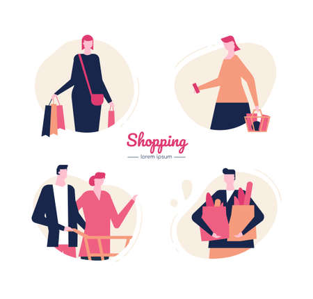 Shopping - flat design style vector characters set Illustration