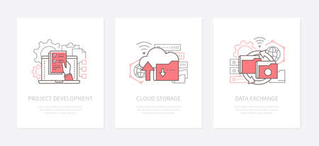 Digital technology - line design style icons set. Project development, cloud storage, data exchange linear banners with text space. Software program, computing service infographic web elements