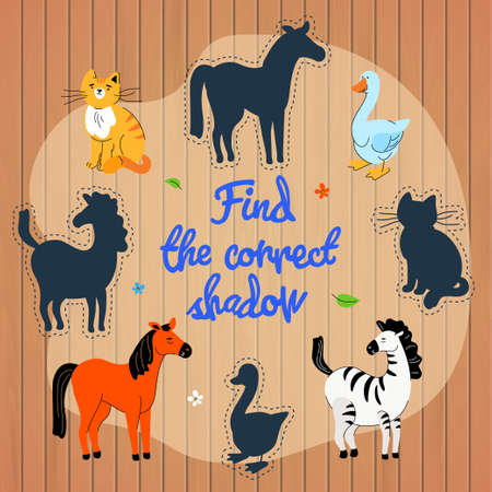 Animal silhouette puzzle for children vector template