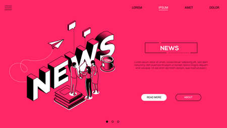 News creation colorful vector landing page template Çizim
