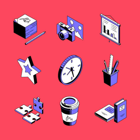 Workplace accessories - colorful vector isometric icons set Çizim