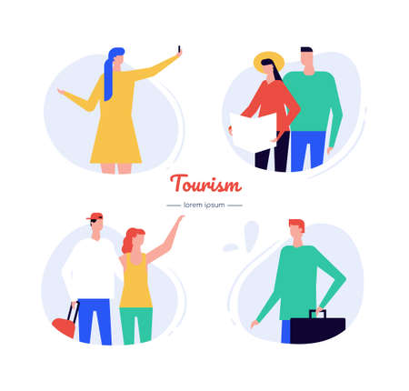 Tourism - flat design style vector characters set