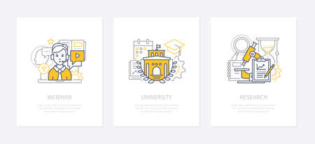 Webinar, online conference, lecturing concept icons set